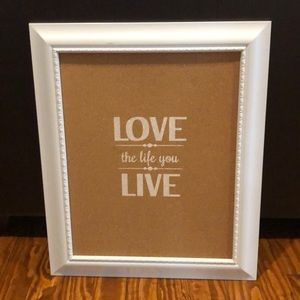 """Love the life you live"" cork board wall art"
